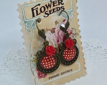 """Polka dots red"" Victorian earrings"