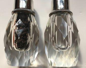 Vintage Crystal Salt Shaker & Pepper Grinder