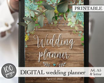 Wedding planner printable, Printable wedding planner, Wedding binder, Wedding planning book, Engagement gift, PDF download, Bridal gift idea