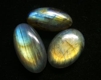Labradorite   Oval Cabochon, Lot 3 pec,  Size- 31x16 to 27x14 MM, Multi Flashy , AAA,  Loose Gemstone, Smooth Cabochons.