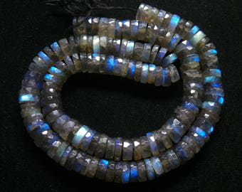 Labradorite,Faceted,Tyer  Beads,Size- 8x8 MM,Natural  Labradorite,Faceted,Tyer ,Beads, AAA Quality, Beads,Natural Gemstone,16 INCH