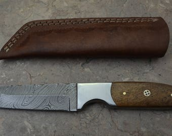 Damascus Steel Hunting Tanto Knife with Rose Wood Handle 406