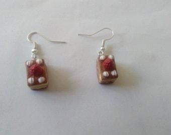 Log chocolate polymer clay earrings