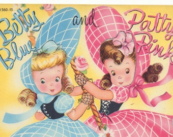 Vintage Forties Paper Doll ' Betty Blue and Patty Pink Wrap-a-round Dresses' Book