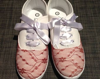 Hand-decorated shoes (lace and ribbon)