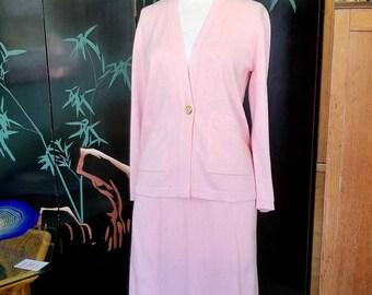 Vintage San Remo Petites Pink Knit Suit