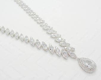 Vintage Cubic Zirconia  Necklace - Silver CZ Necklace, Crystal Wedding Necklace, Bridal Necklace, Wedding Necklace, Bride Necklace Silver