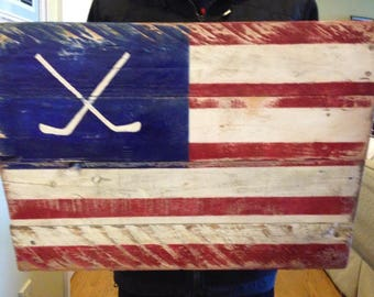 rustic reclaimed wood flag painting