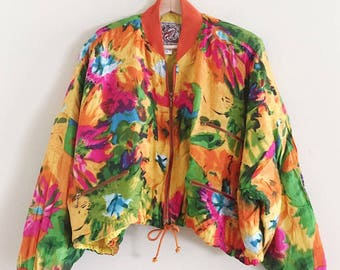 1980s/1990s Oversized / Cropped Floral Watercolor Bomber Jacket