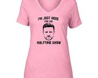 Justin Timberlake I'm Just Here For The Halftime Show T Shirt Ladies Semi-Fitted V-Neck Halftime Charity Pink Tee