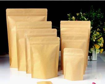 All Sizes 50pcs  Kraft paper bag  Valve bag Gift bag Tea bag Flower bag self - reliance bag Food bag Sealed bag