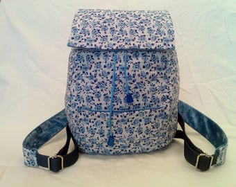 Cute girl backpack, white with blue Floret