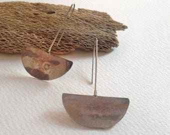 Sterling Silver Earrings - Artisan, Contemporary, Rough, Hand Forged Jewellery, One-of-a-kind, Unique Gift