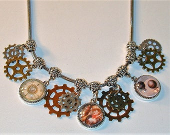 Steampunk Inspired Charm necklace #3  Handmade  OOAK