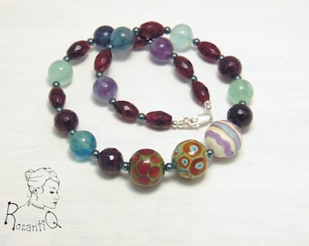 Into the Autumn - Art Lampwork and Gemstone Necklace