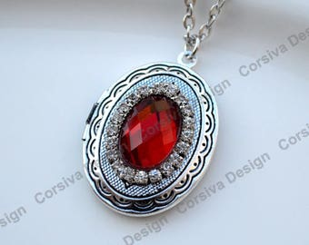 Silver Locket Oval Faceted Red Crystal Jewel with Rhinestones