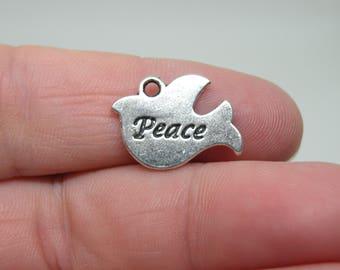 "8 Silver Tone ""Peace"" Dove Charm. B2"