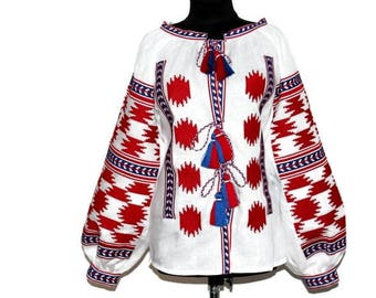 Embroidered blouse Boho Vyshyvanka Stardust Ukrainian Embroidery Linen Outfit Custom Ethnic Folk Shirt