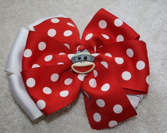 Stacked Pinwheel Hair Bow, Red and White, Girls, Toddlers, Infants Hair Bow