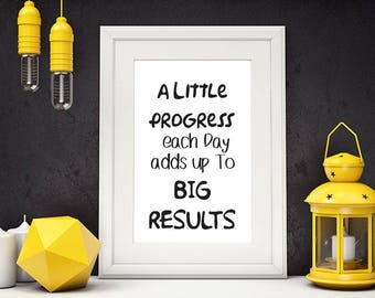 A Little Progress Each Day Adds Up To Big Results, Motivational Poster, Fitness Motivation, Gym Decor, Fitness Art, Inspiration, #HQMOT005