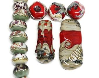 red gray lampwork beads murano glass lampwork beads set red lampwork pendant round glass beads sra