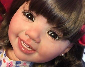 Custom Caucasian Reborn Toddler Doll With Wig
