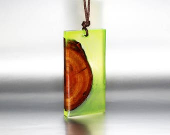 Necklace Gift For Her Jewelry Resin Wood, Pendant Forest Jewelry Inspired Gift, Fashion Jewelry Stylish Gift Necklace Elegant Pendant Unique