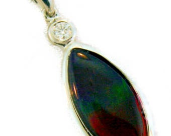 Marquise Shped 14K white Gold Canadian Ammolite Pendant with Diamond
