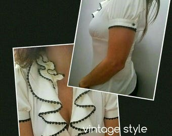 Vintage Style Button Up Frilly Thrift Blouse