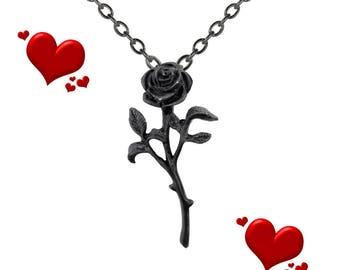 Black Rose Pendant: Goth Pendant, Goth Choker, Goth Accessories
