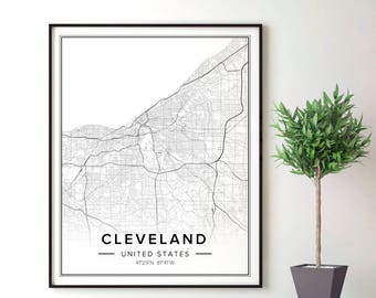 Cleveland Map, Cleveland Art, Cleveland Print, Cleveland Poster, Cleveland Wall Decor, Cleveland Ohio Map, Cleveland Ohio Wall Art, City Map