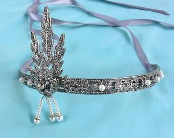 Great Gatsby Headpiece, Great Gatsby Headband, Flapper 1920s Headband, Flapper 1920s Headpiece