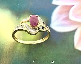 Ravishing Ruby and Diamond Ring - 14 K Yellow Gold and Ruby Ring