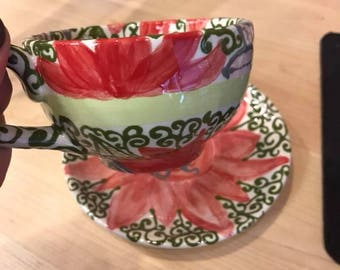 Custom Painted Tea Cup and Saucer (floral designs)