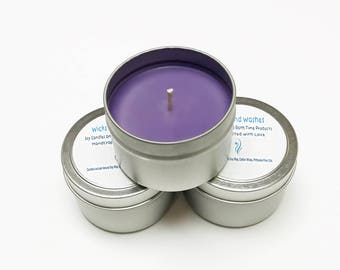 Lavender Candle Tin, Scented Candles Handmade, Soy Hand Poured Lavender Candles, 4 oz Candle Tins, 8 oz Candle Tins, Floral Container Candle