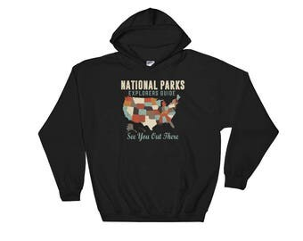 Vintage Map of US National Parks Hooded Sweatshirt