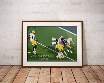 John Elway Helicopter - Denver Broncos - Super Bowl XXXII - Green Bay Packers - Poster - NFL art - Wall decor - Man Cave