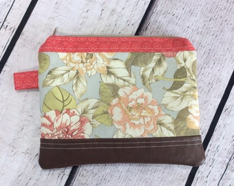 Zippered Pouch - Pastel Florals/Pink