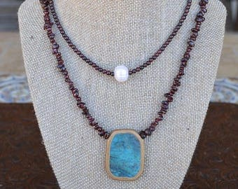 Garnet necklace with Beautiful Turquoise Pendant