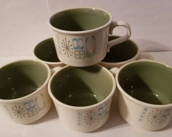 Cathay Pattern Atomic Cups by Taylor & Smith, Set of 6