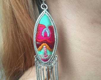 Hand made unique embroidered and sliver earrings
