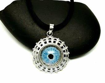 "Handpainted Eye pendant on 28"" long Silk cord/ Blue Dragon Eye/ Vampire Eye/ Mystical Eye/ UV Reactive/Black Light Jewelry"
