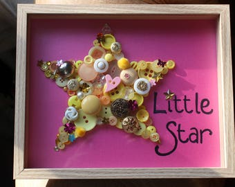 Star Picture, button Art, button picture, button star, childrens picture, christening gift, childrens birthday gift, baby shower