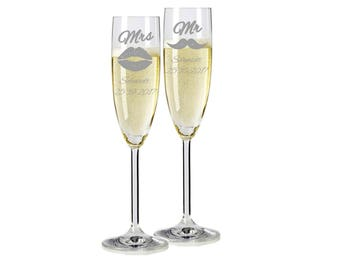 "2 Leonardo champagne glasses with personalized engraving ""Mr. & Mrs."" Bride/Groom with name and date engraved wedding gift"