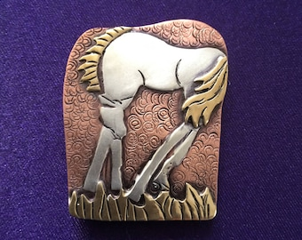 Horse pin/pendant handcrafted with copper,silver and brass