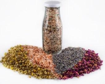 All Natural Essential Oils Soaking Salts: Calm/relaxing bath salts made with Lavender, Geranium, Ylang Ylang, Jasmine