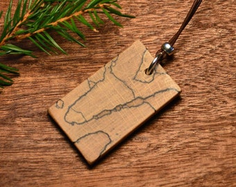 Wooden medallion, wooden pendant, wooden necklace for men, forest necklace, woodland necklace, natural necklace, unisex necklace