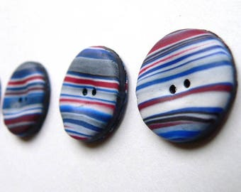 Red White Blue Stripey buttons - handmade polymer clay buttons