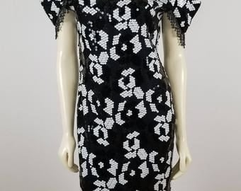 Evening by Lola Berent black and white Vintage Sequin beaded dress sz 12