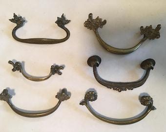 Lot of 6 Brass Victorian Ornate Drawer Pulls